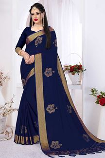 Picture of Pretty Navy Blue Silk Satin Wedding Wear Designer Saree