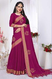 Picture of Dashing Rani Pink Colored Silk Satin Wedding Wear Designer Saree