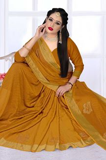Picture of Dazzling Mustard Colored Silk Satin Wedding Wear Designer Saree