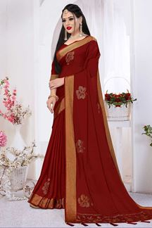 Picture of Prettified Maroon Colored Silk Satin Wedding Wear Designer Saree