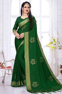 Picture of Classified Bottle Green Colored Silk Satin Wedding Wear Designer Saree
