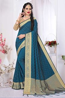Picture of Boldly Rama Green Colored Silk Satin Wedding Wear Designer Saree