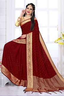Picture of Designer Maroon Colored Silk Satin Wedding Wear Designer Saree