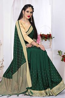 Picture of Amazing Bottle Green Colored Silk Satin Wedding Wear Designer Saree