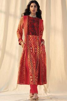 Picture of Red Colored Cotton Straight Suit