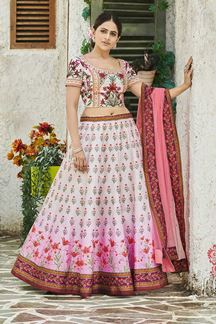 Picture of Printed Cream & Pink Colored Lehenga Choli In Silk