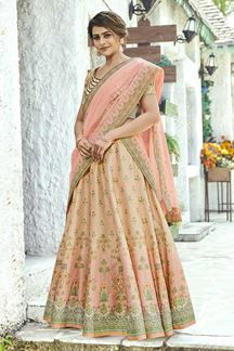 Picture of Printed Beige-Peach Colored Wedding Lehenga Choli Design In Silk