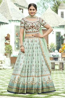 Picture of Printed Light Green Colored Wedding Lehenga Choli Design In Silk
