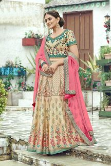 Picture of Printed Beige-Pink Colored Silk Lehenga Choli