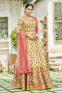 Picture of Light Yellow Colored Printed Silk Lehenga Choli