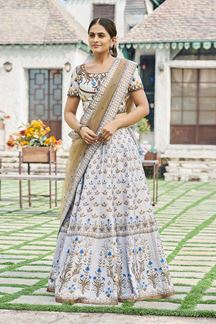 Picture of Light Grey Colored Silk Printed Lehenga Choli