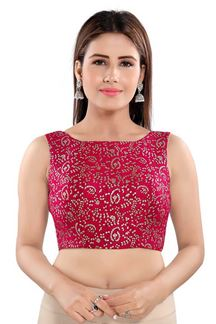 Picture of Vibrant Tomato pink Colored Readymade Blouse