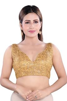 Picture of Shimmery Gold Colored Readymade Blouse