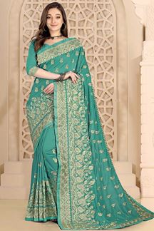 Picture of Gleaming Turquoise Blue  Colored Saree