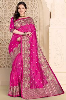 Picture of Eye catching Pink  Colored Saree