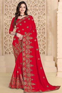 Picture of manifested red Colored designer Saree