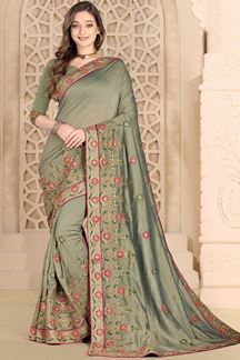 Picture of Engrossing Mehendi Green Colored designer Saree