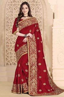 Picture of Engraving red  Colored designer Saree