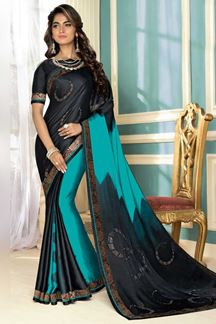 Picture of Arresting Blue & Black Colored Party Wear Satin Saree
