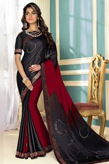 Picture of Arresting Red & Black Colored Party Wear Satin Saree