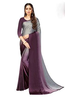 Picture of Elegant Shaded Magenta-Grey Colored Party Wear Satin Saree