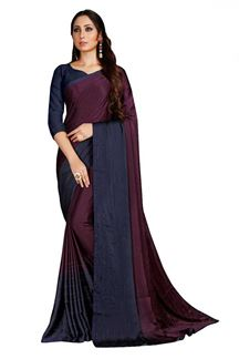Picture of Desirable Wine Colored Party Wear Satin Saree