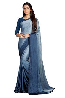 Picture of Elegant Grey Colored Partywear Satin Saree