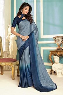 Picture of Demanding Grey & Blue Colored Satin Saree