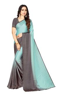 Picture of Grey & Sky-blue Colored Designer Saree In Satin
