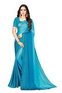 Picture of Shaded Blue Colored Satin Designer Saree