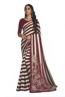 Picture of Magenta &  White Colored Saree In Satin With Stripes