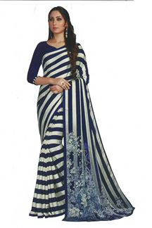 Picture of Blue &  White Colored Saree In Satin With Stripes