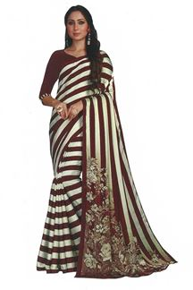 Picture of Maroon &  White Colored Saree In Satin With Stripes