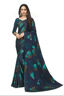 Picture of Floral Print Blue Colored Satin Saree