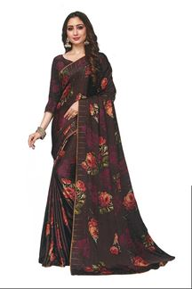 Picture of Floral Print Brown Colored Satin Saree