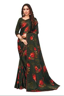 Picture of Floral Print Green Colored Satin Saree