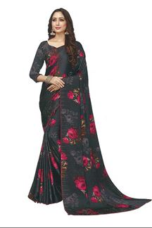 Picture of Floral Print Grey Colored Satin Saree
