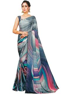 Picture of Staring Multicolor Colored Party Wear Designer Printed Satin Saree