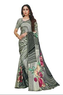Picture of Jazzy White -Black Colored Printed Satin Saree