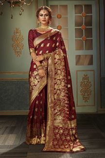 Picture of Classical Maroon Colored Designer Saree