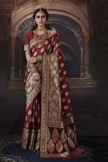 Picture of Boldly Maroon Colored Designer Saree