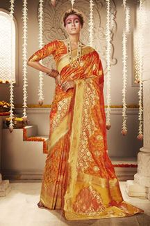 Picture of Gleaming Orange Colored Designer Saree