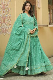 Picture of Traditional Green Colored Lehenga Choli