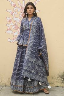 Picture of Classical Navy Blue Colored Lehenga Choli