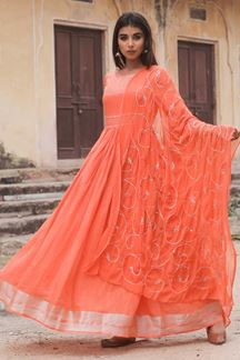 Picture of Stunning Orange Colored Readymade Kurti