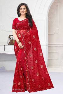 Picture of Inequities  Red  Colored Designer Saree
