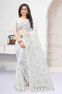 Picture of Sparkling Silver Colored Designer Saree