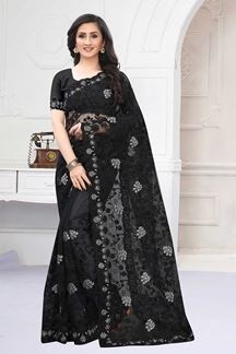 Picture of Sizzling Black Colored Designer Saree