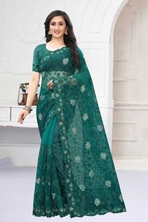 Picture of Dark Green Colored Designer Saree