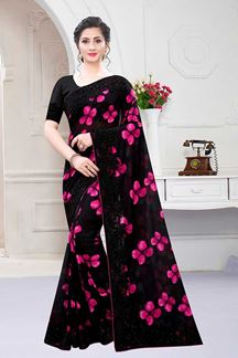 Picture of Black Color Satin georgette Wedding Wear Designer Saree